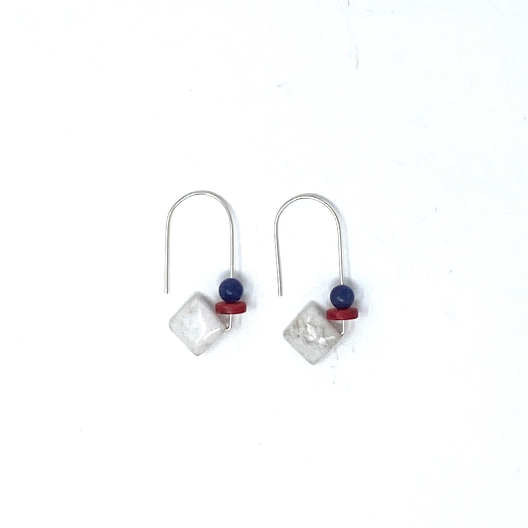Minimalist 925 Silver Drop Earrings with Howlite, Coral & Purple by Nelson Enrique