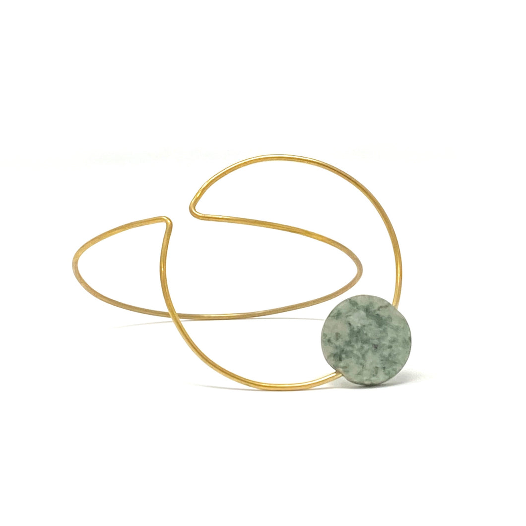 Minimalist Brass Double Circle Bracelet with Turquoise by Nelson Enrique
