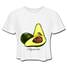 Aguacate Women's Cropped T-Shirt - white Exclusive collection from El Galpón. Affordable fashion shirts for men and woman inspired in Puerto Rico's culture. We ship to all US states & Puerto Rico. Shop Online Now !