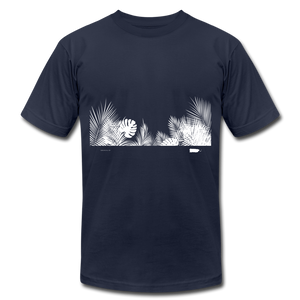 Leaves WIDE WHT Unisex Jersey T-Shirt - navy