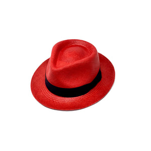 Tradicional Short Brim Red Genuine Panama Hat