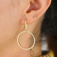 Load image into Gallery viewer, Alena Pavé Double Hoop Earring