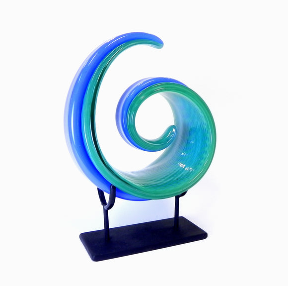 Cresting Wave - Green Blue with Stand