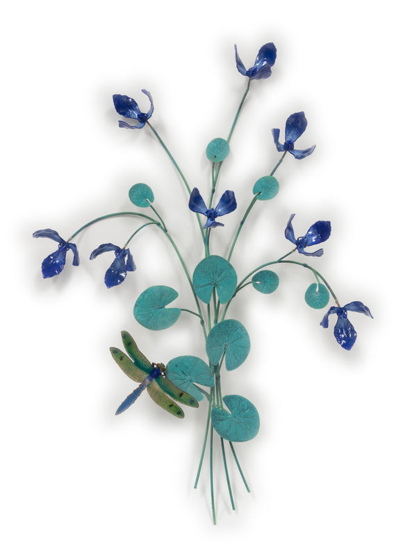 Large Blue Flowers with Dragonfly Wall Sculpture