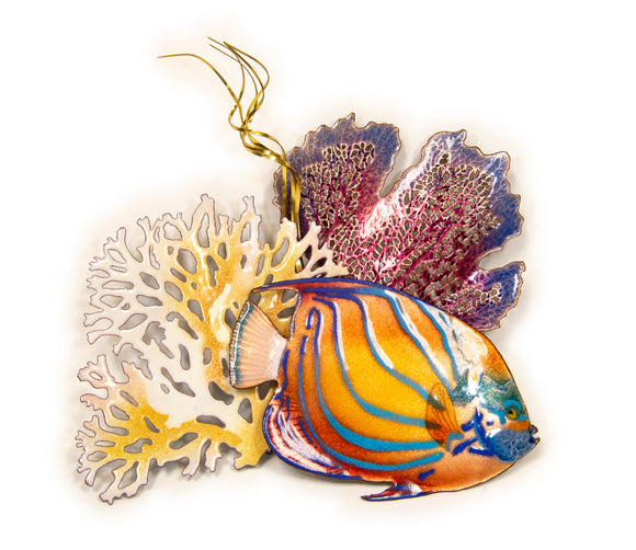 Blue Ring Anglefish and Sea Fans Wall Sculpture