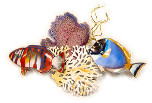 Surgeon & Tusk Fish with Sea Fan and Coral Wall Sculpture