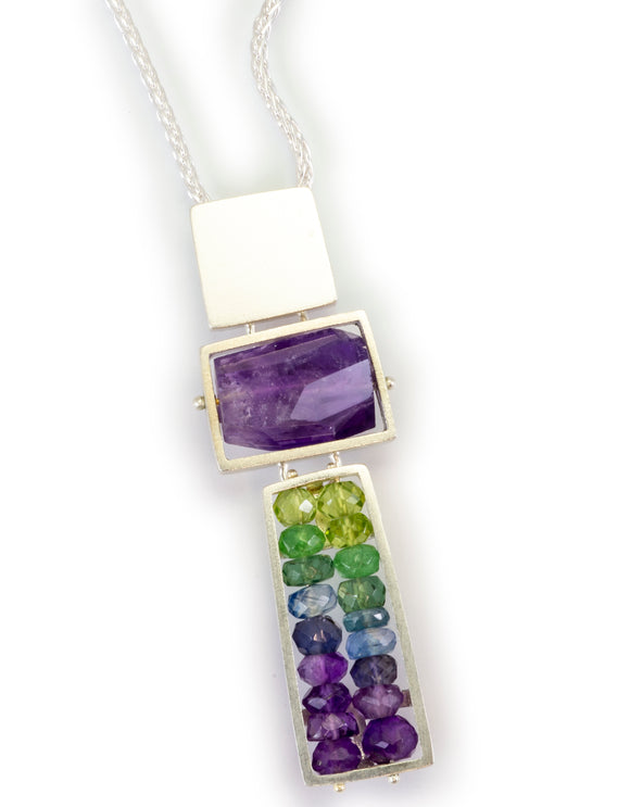 Totem Necklace with Amethyst, Peridot, Kyanite, Iolite