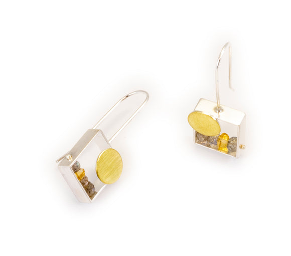 Rectangular Earring with 18K Bimetal Dot