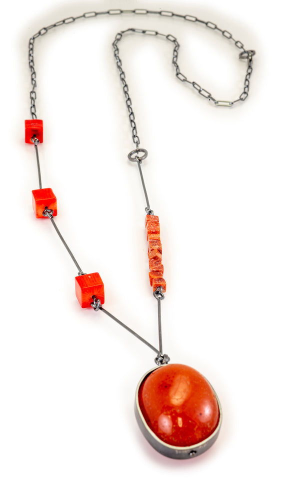 Multipart Necklace in Orange Carnelian and Coral