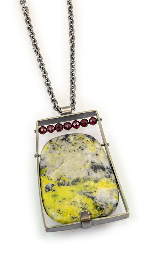 Rectangle Necklace with Yellow Turquoise