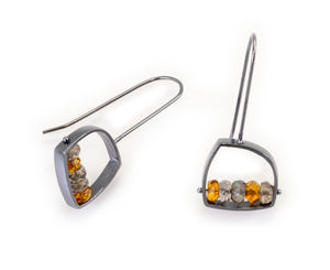 Irregular Shaped Earring with Labradorite and Citrine