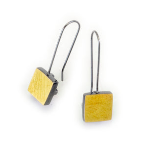 Small Square Frame Earring in Silver & 18K Bimetal