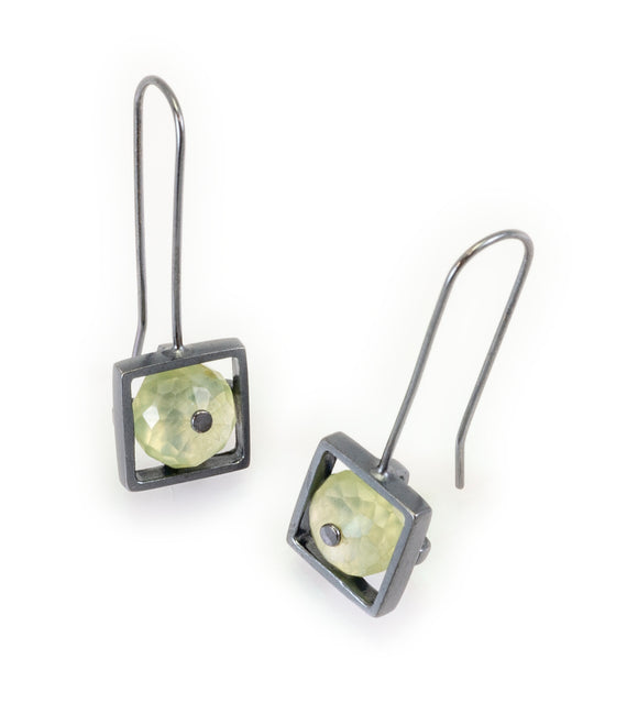 Square Frame Earring with Prehnite