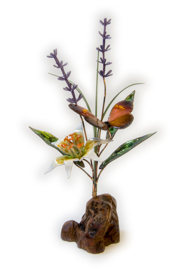 Butterfly, Lily, and Lavendar on Manzanita Wood