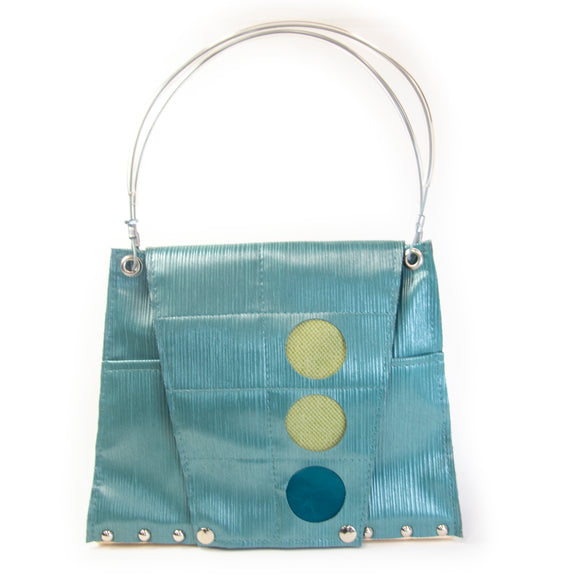 Flap Circle Purse in Blue Lines, Green and Teal