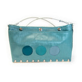 Journey Circle Purse in Blue Lines & Varied Colors