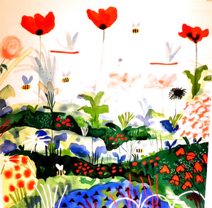 """Poppies"" Serigraph by Mike Smith"