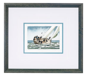 """Racing Yacht"" - Framed Etching by Frank Kaczmarek"