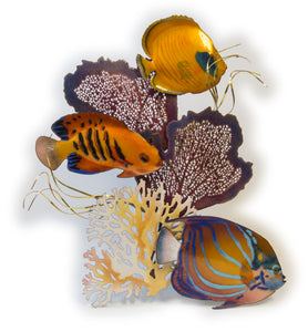 Blue Ring, Flame Angelfish, Golden Butterfly Fish Wall Sculpture