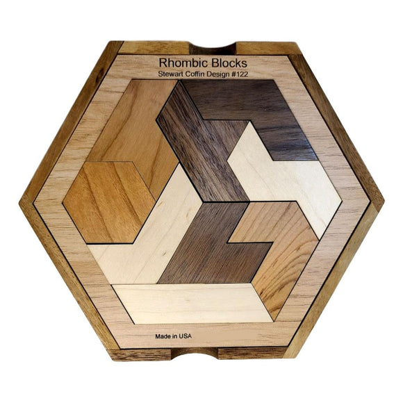 Rhombic Blocks Wood Puzzle