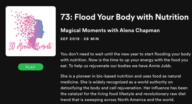Magical Moments with Alena Chapman: Ep 73: Flood Your Body with Nutrition