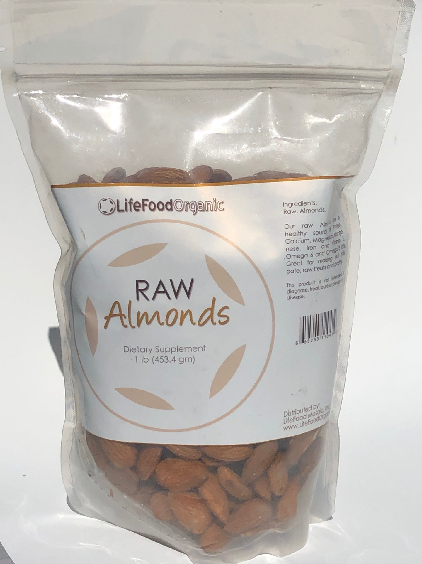 LifeFood Raw Organic Unpasteurized Almonds, 1 pound