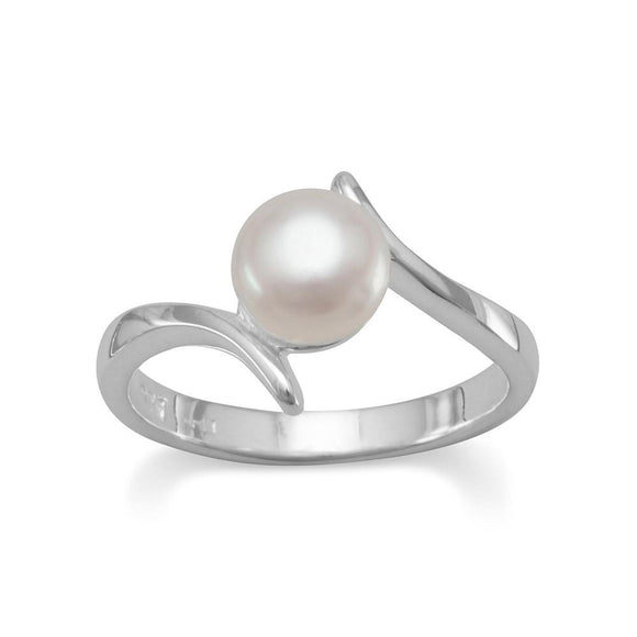 Sterling Silver Crossover Pearl Ring