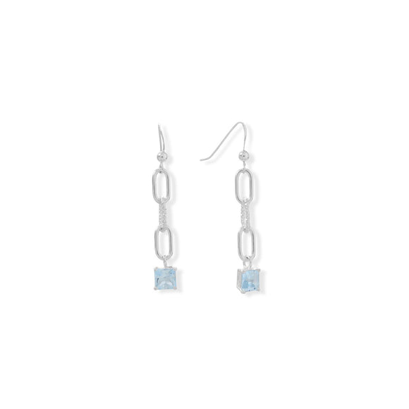 Blue Topaz with Chain Drop Earrings