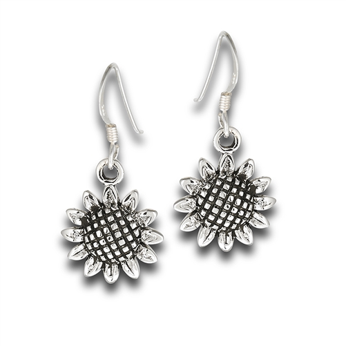 Sterling Silver Sunflower Dangle Earrings