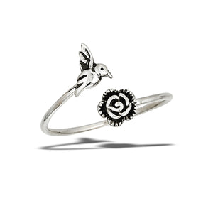 Sterling Silver Adjustable Rose and Hummingbird Ring