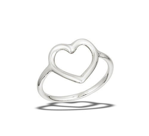 Sterling Silver Smooth Open Heart Ring
