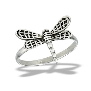 Sterling Silver 3D Dragonfly Ring