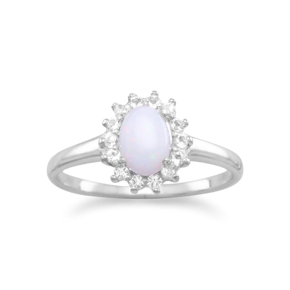 Sterling Silver White Topaz and Opal Cluster Ring