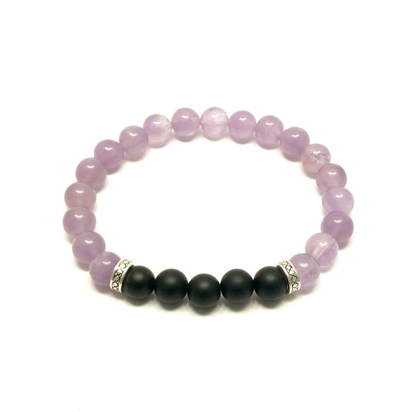 Greek Key Lavender Amethyst and Frosted Onyx Bracelet