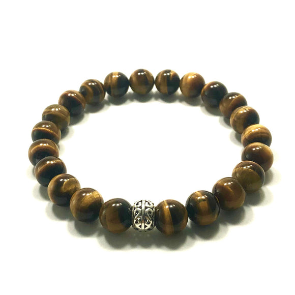 James Charlie Jewelry Sterling Silver Tiger Eye Stretch Bracelet