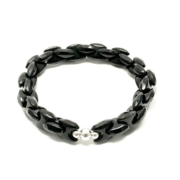 James Charlie Jewelry Sterling Silver Faceted Black Onyx Chain Link Stretch Bracelet