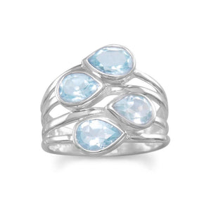 Sterling Silver Pear Blue Topaz Ring