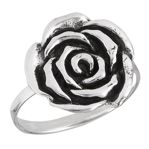 Sterling Silver Flat Rose Ring