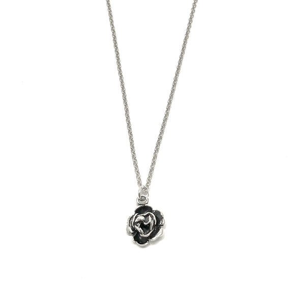 James Charlie Jewelry Sterling Silver 3D Rose Charm Necklace