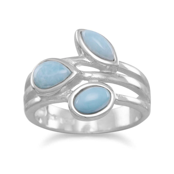 Sterling Silver Multishape Larimar Ring