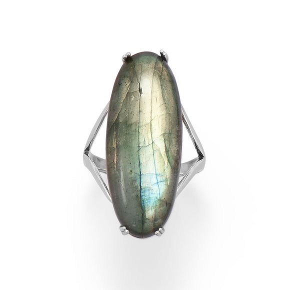 Large Sterling Silver Oval Labradorite Ring