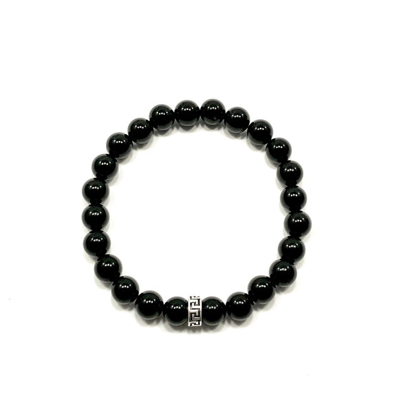 Greek Key Polished Onyx Bracelet