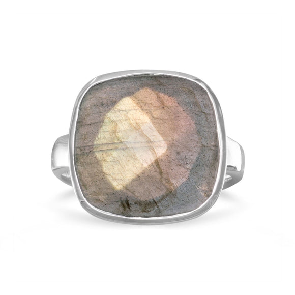 Sterling Silver Large Faceted Labradorite Ring