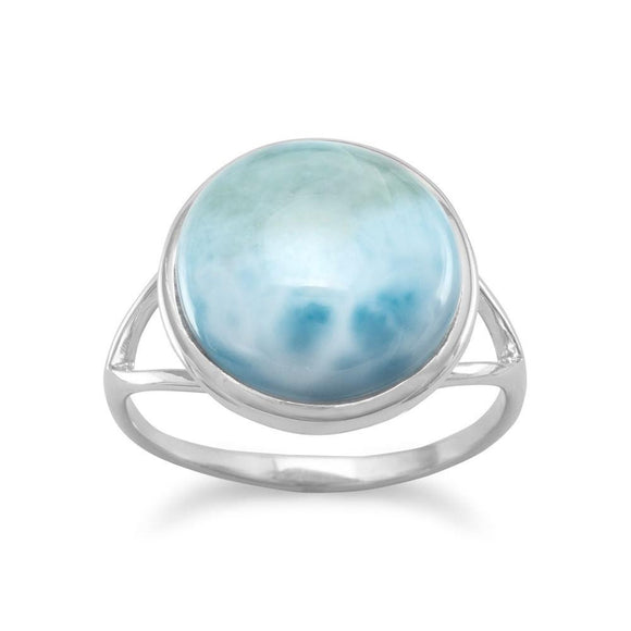 Sterling Silver Round Larimar Ring
