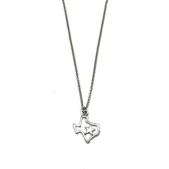 Sterling Silver Texas with Star Necklace