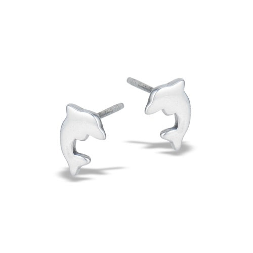 Sterling Silver Flat Dolphin Studs
