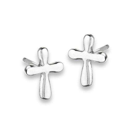 Sterling Silver Rounded Cross Studs