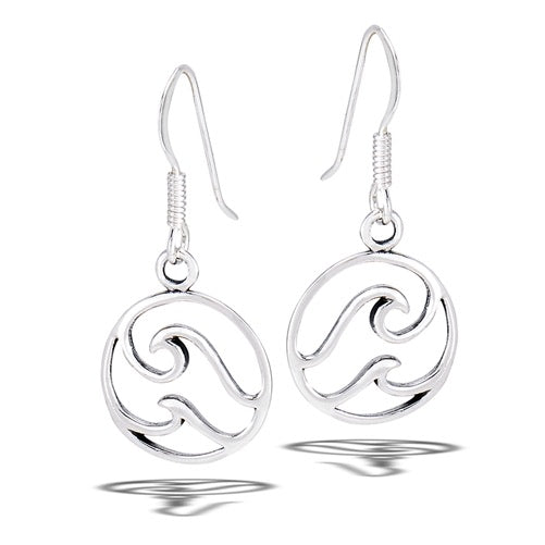 Sterling Silver Double Wave Earrings