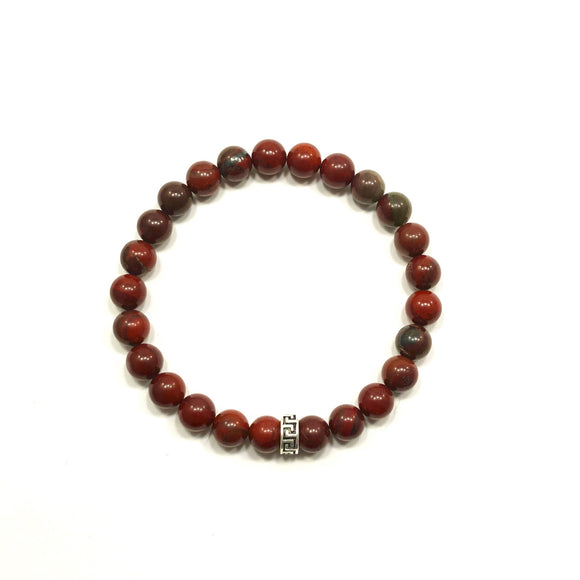 Greek Key Apple Jasper Bracelet