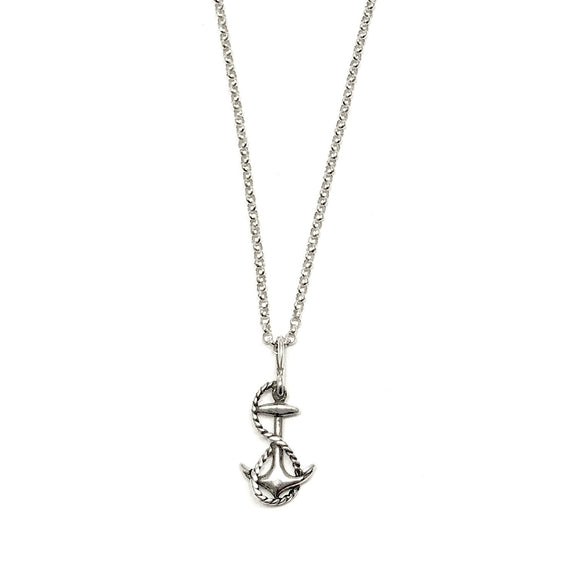 Sterling Silver Anchor with Rope Necklace